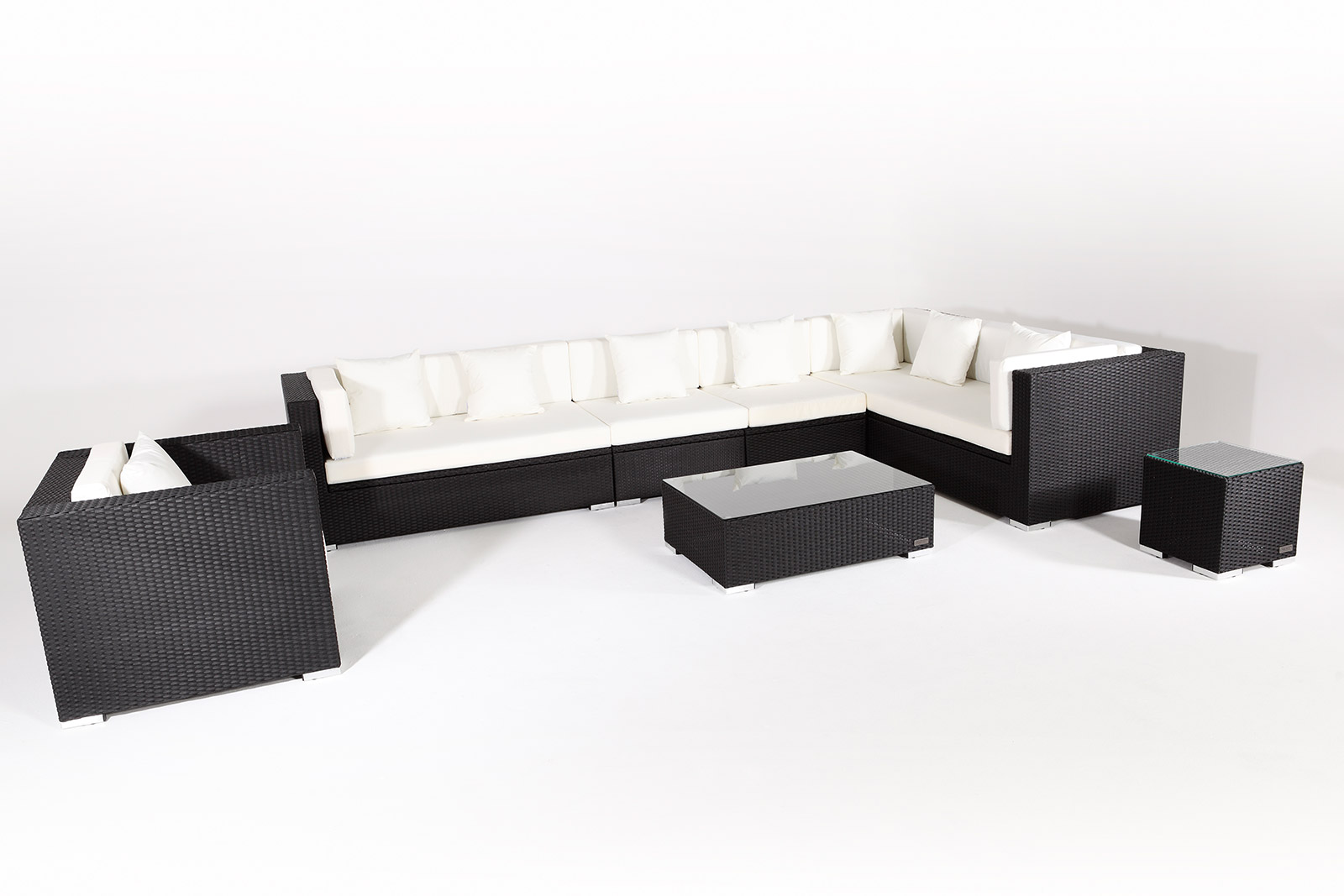 outflexx sitzgruppe xxl aus polyrattan mit kissenboxfunktion inkl kissen f r 8 pers schwarz. Black Bedroom Furniture Sets. Home Design Ideas