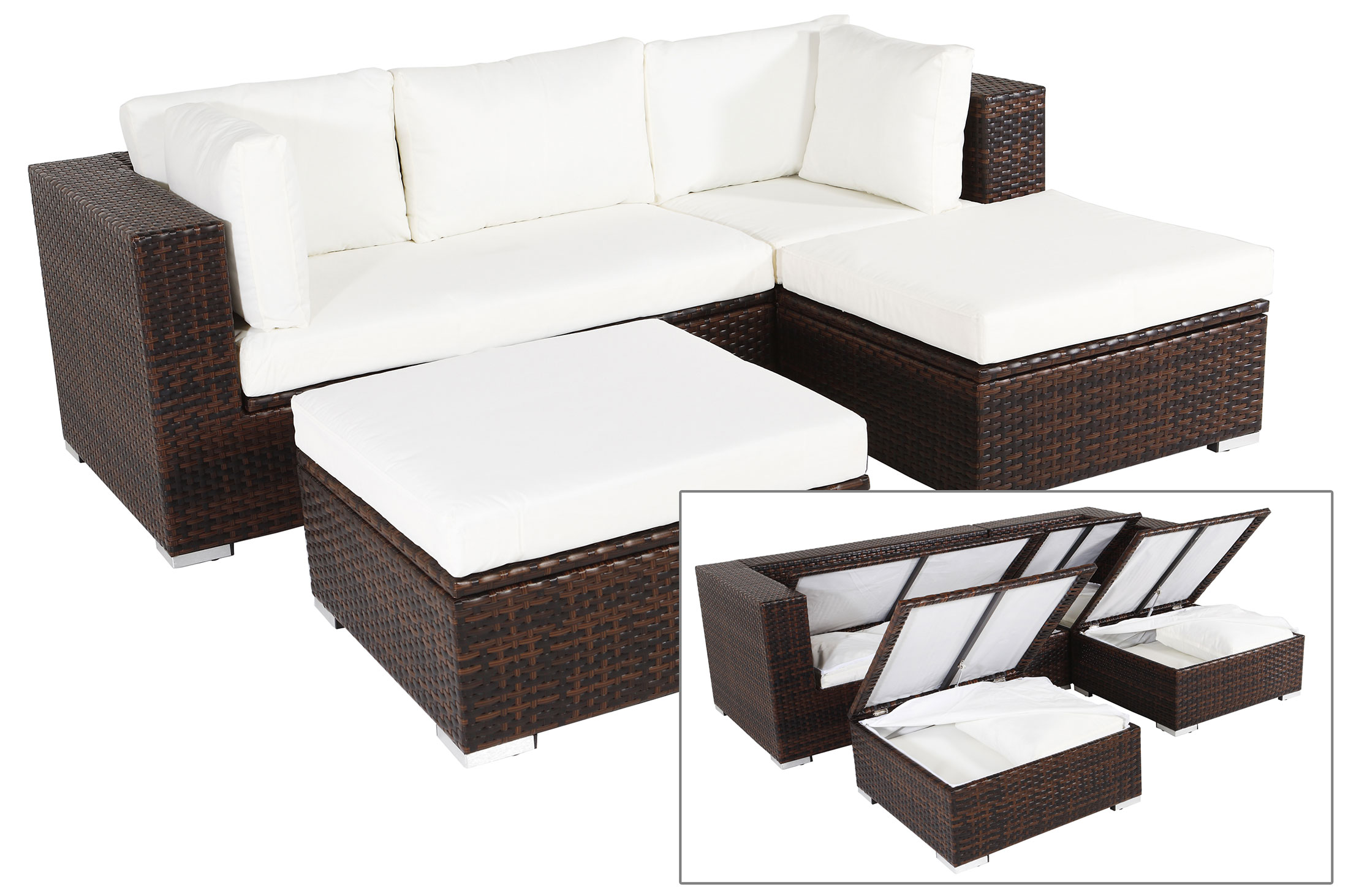 outflexx gartenm belset aus polyrattan mit boxfunktion inkl 2 hockern f r 5 pers braun. Black Bedroom Furniture Sets. Home Design Ideas