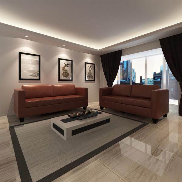 Sofaset Ledersofa Polstersofa Couch Garnitur 2-Sitzer + 3-Sitzer