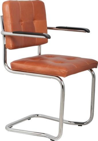 Designer Lounge Esszimmer Stuhl aus Leder braun