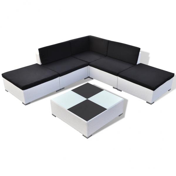 Rattan Lounge Sitzgruppe Gartenmöbel in weiß
