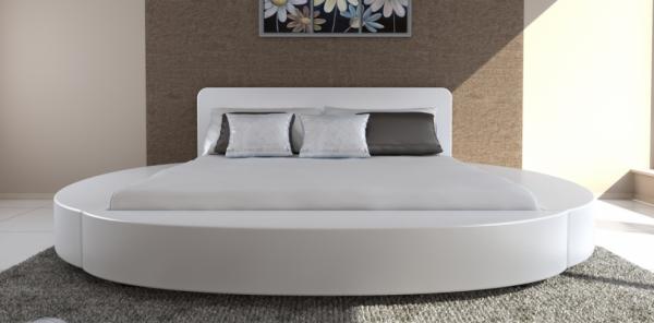 Kunstleder Bett 180 x 200 cm mit Matratze weiß