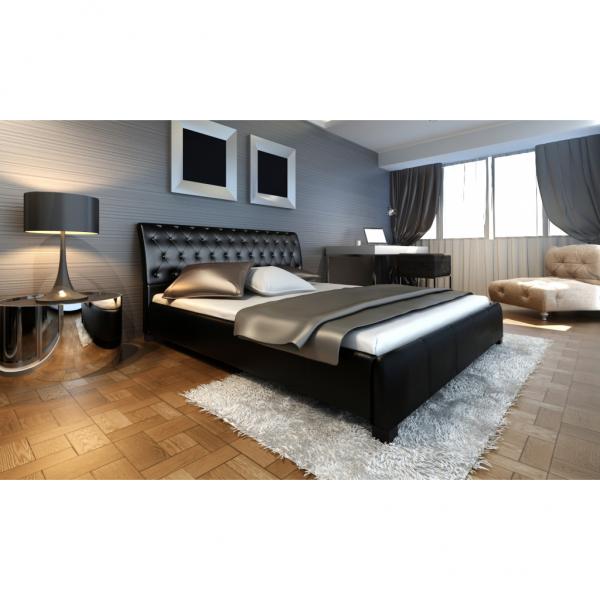 Polsterbett mit Matratze & Lattenrost 140cm schwarz