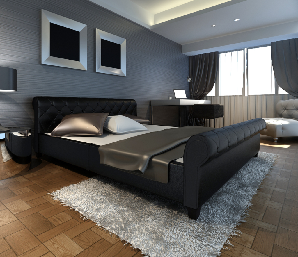 kunstleder bett 140cm schwarz. Black Bedroom Furniture Sets. Home Design Ideas