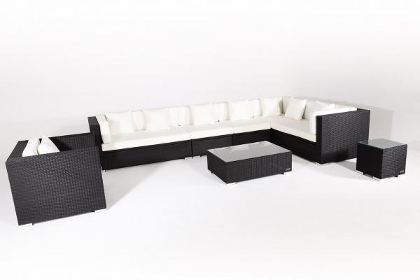 OUTFLEXX Sitzgruppe XXL aus Polyrattan mit Kissenboxfunktion inkl. Kissen für 8 Pers., schwarz