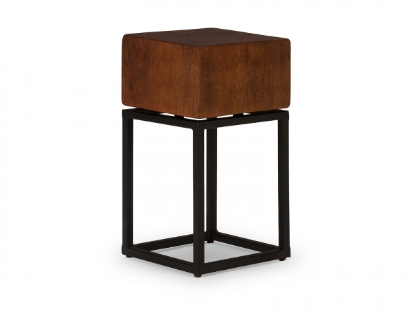 Industrial Hocker Cube Braun - Industrie Look