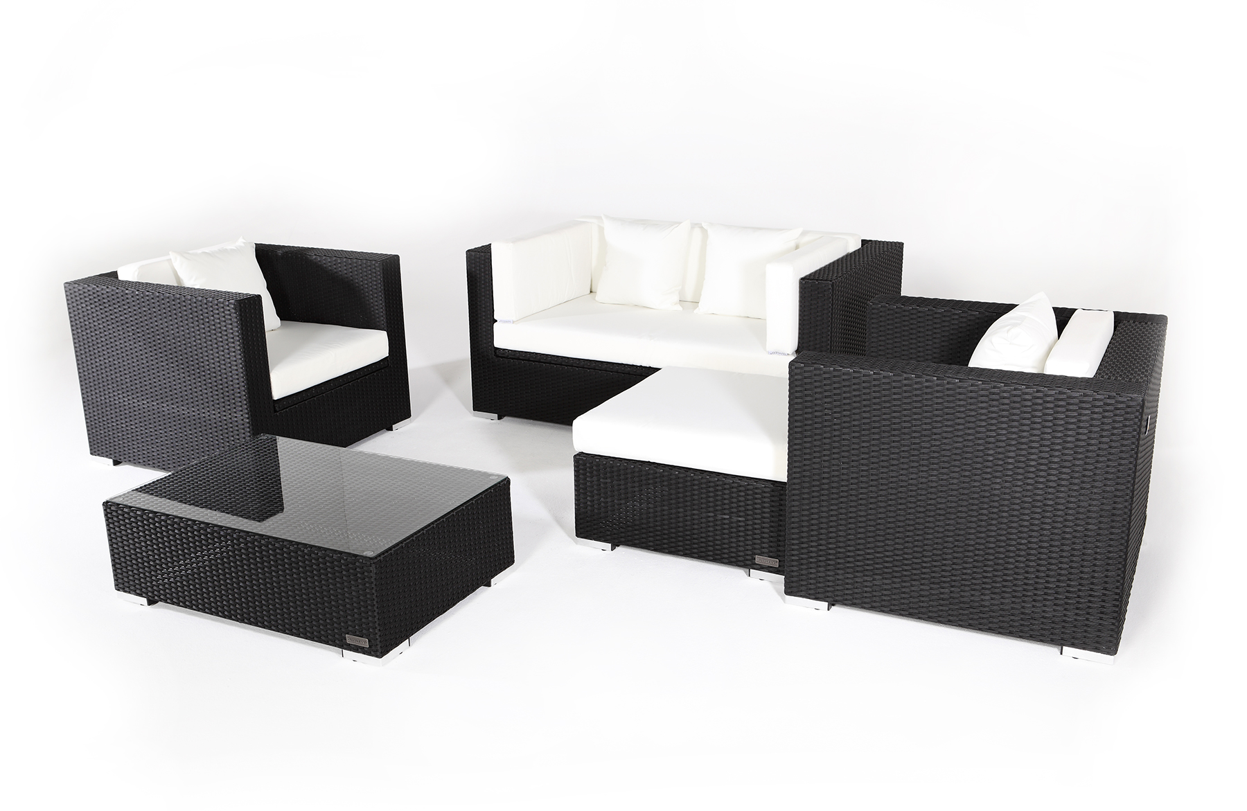 outflexx sitzgruppe aus polyrattan mit kissenboxfunktion inkl kaffeetisch f r 5 pers braun. Black Bedroom Furniture Sets. Home Design Ideas