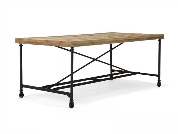 Industrial Chic Esstisch aus Massivholz mit Rollen 200 x 100 cm