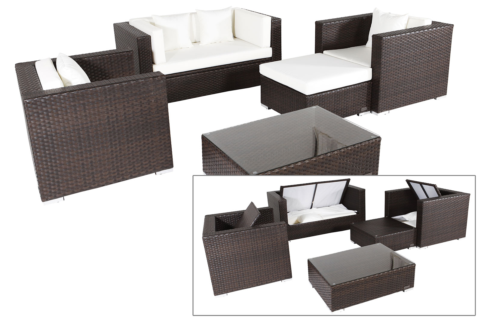 gartenmobel rattan lounge set m belideen. Black Bedroom Furniture Sets. Home Design Ideas