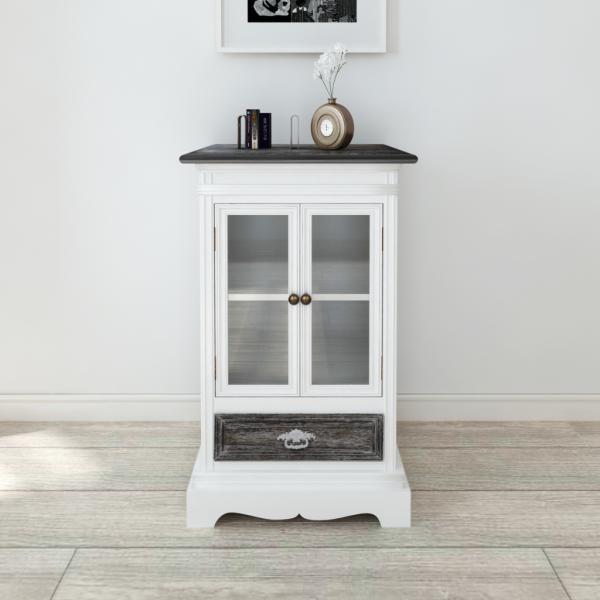 Retro Design Holzschrank Weiß