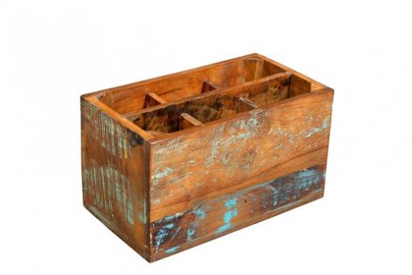Shabby Chic Kiste für Flaschen aus Massivholz / Sheeshamholz