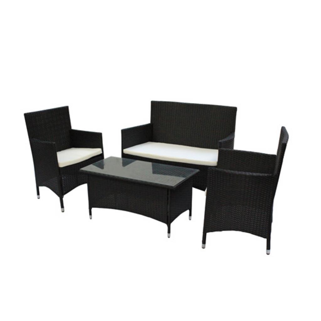 rattan gartenm bel set schwarz. Black Bedroom Furniture Sets. Home Design Ideas