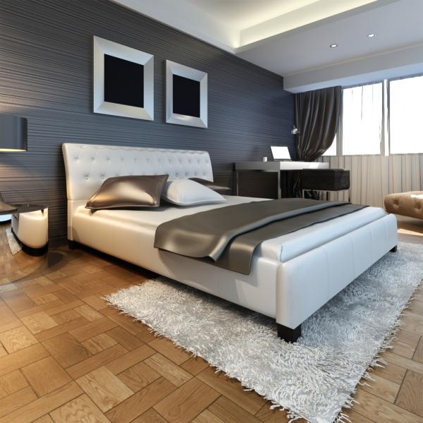 Luxus Kunstleder Bett mit Lattenrost und Matratze