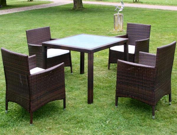 XL Gartenmöbel Rattan Essgruppe Sitzgruppe Gartenset Braun 1+4