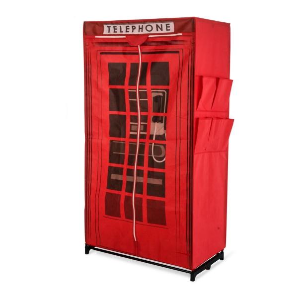 Kleiderschrank aus Stoff Design englische Telefonzelle