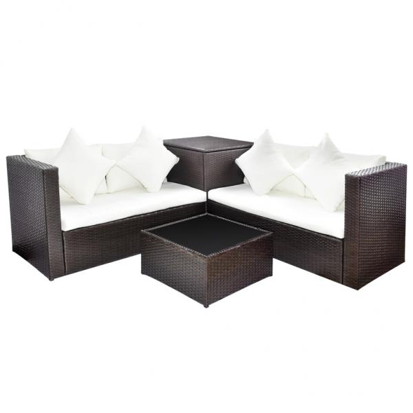 Rattan Garten Möbel-Set mit Aufbewahrungskiste Braun