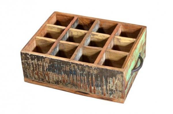 Massivholz Weinkiste Holzkiste im Shabby Chic Design