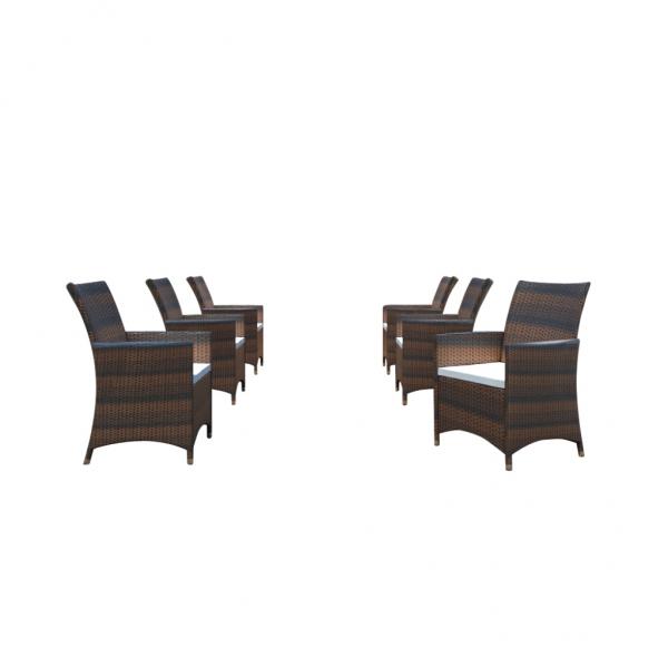 6 Rattan Stühle, inkl. Kissen