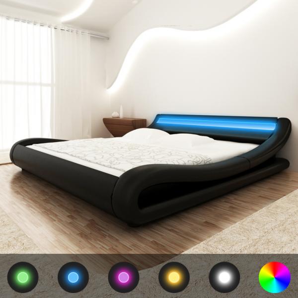 Kunstlederbett Schwarz 180x200cm mit LED-Streifen + Matratze