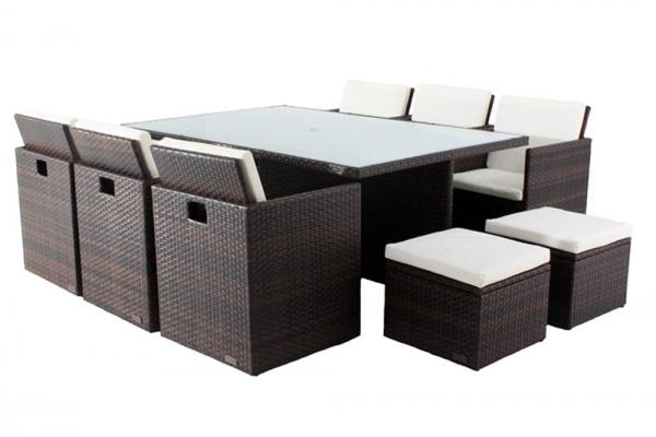 OUTFLEXX Esstischgruppe aus Polyrattan, Stühle kompl. unterstellbar, mit Hockerboxen, 130x190cm, bra