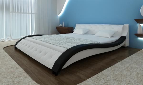 Kunstlederbett mit Matratze 180 x 200 weiß