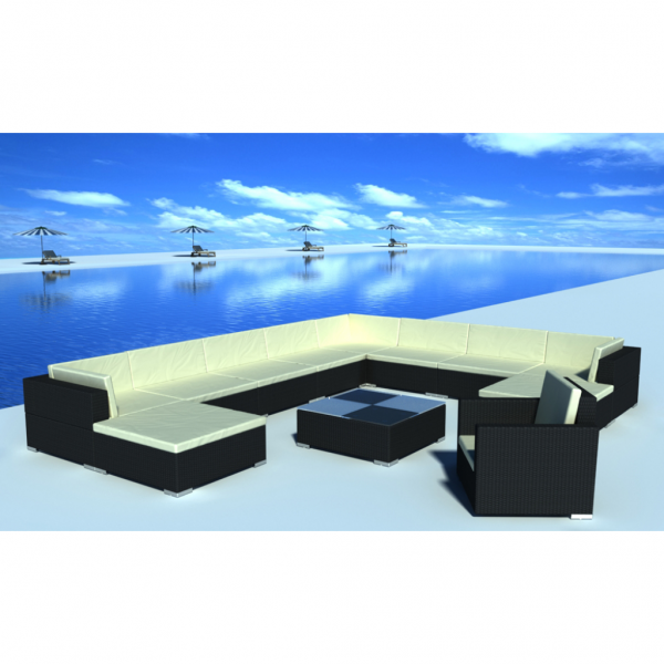 Deluxe Gartenmöbel Rattan Lounge