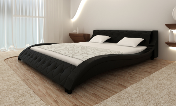 kunstleder bett 140 x 200 cm schwarz mit matratze, Hause deko