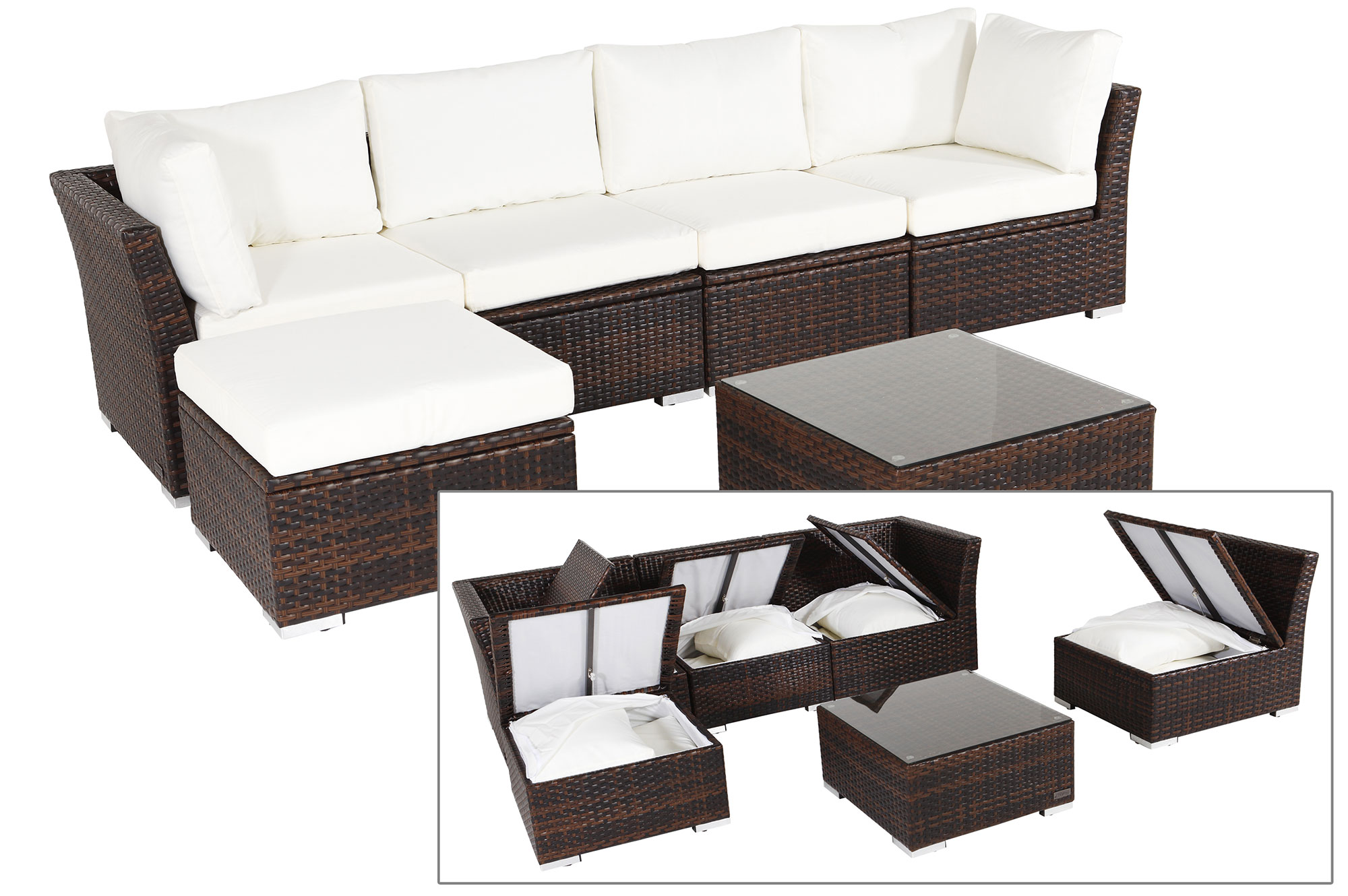outflexx rattan gartenm bel aus polyrattan mit kissenboxfunktion f r 5 personen braun marmoriert. Black Bedroom Furniture Sets. Home Design Ideas