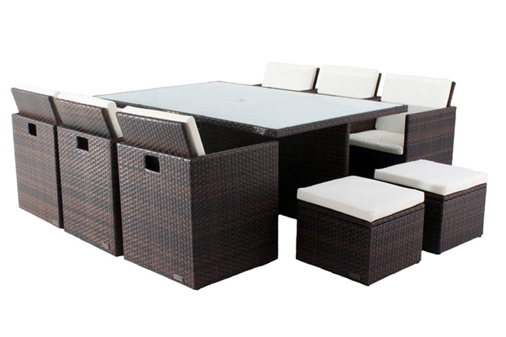 outflexx esstischgruppe aus polyrattan st hle kompl unterstellbar mit hockerboxen 130x190cm. Black Bedroom Furniture Sets. Home Design Ideas