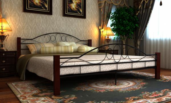 Metall Doppelbett mit Lattenrost 180x200cm Mahagoni
