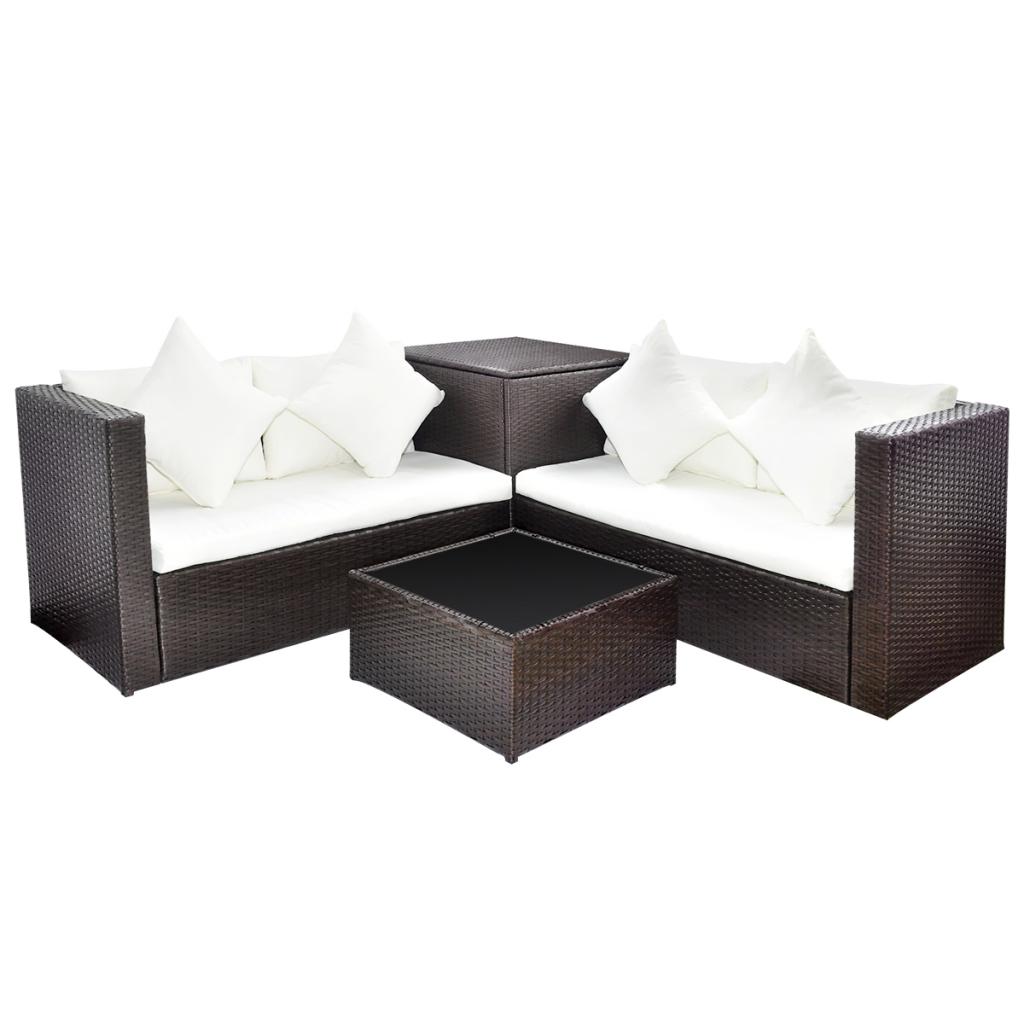 rattan garten m bel set mit aufbewahrungskiste braun. Black Bedroom Furniture Sets. Home Design Ideas