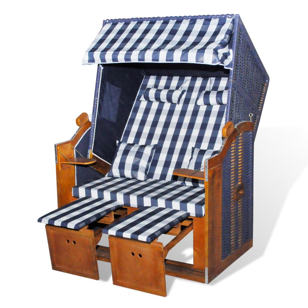 rattan liege wohnzimmer:Luxus Strandkorb Gartenliege 2-Sitzer Blaurattan Blaustoff