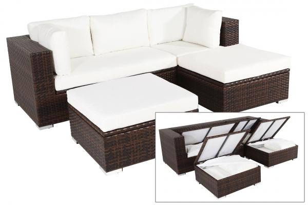 OUTFLEXX Gartenmöbelset aus Polyrattan mit Boxfunktion inkl. 2 Hockern, für 5 Pers., braun-marmorier