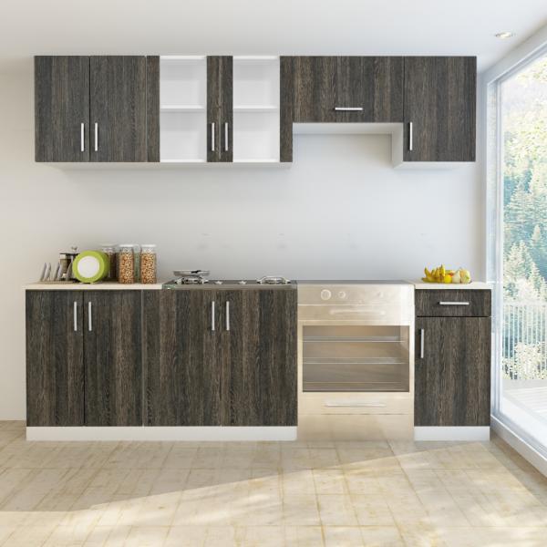 Deluxe Einbauküche Küchenzeile Wenge-Optik
