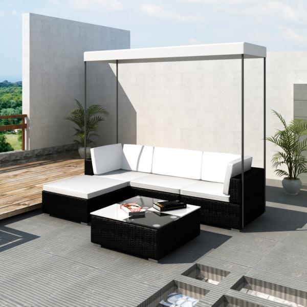 Ecksofa Rattanset Sofa Set Gartengarnitur Rattan mit Dach Schwarz