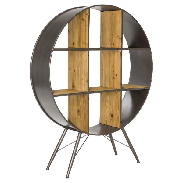Regal Industrial Look rund aus Eisen und Massivholz