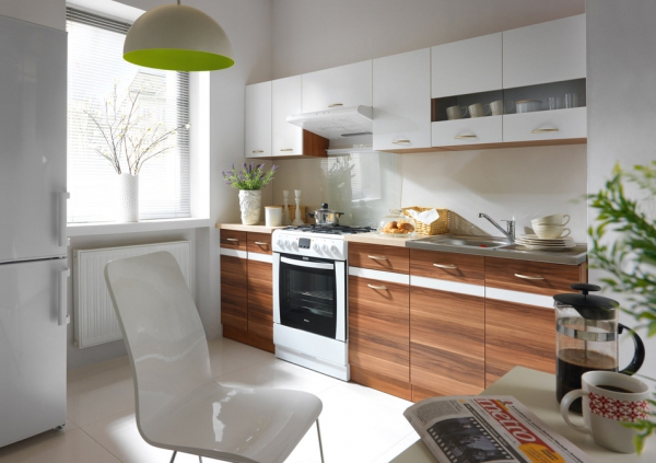 Einbauküche Küchenzeile weiß Pflaume