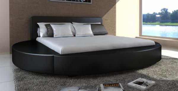 Kunstleder Bett 180 x 200 cm mit Matratze schwarz