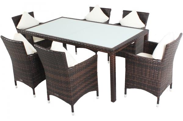 OUTFLEXX Gartenmöbelset aus Polyrattan 180x100x74cm, in braun marmoriert