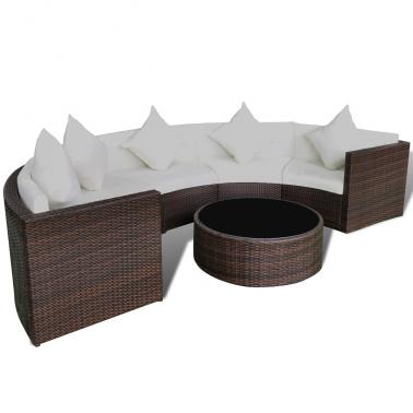 Gartenmöbel Set halbrundes Rattan Sofa Set mit Tisch, Braun
