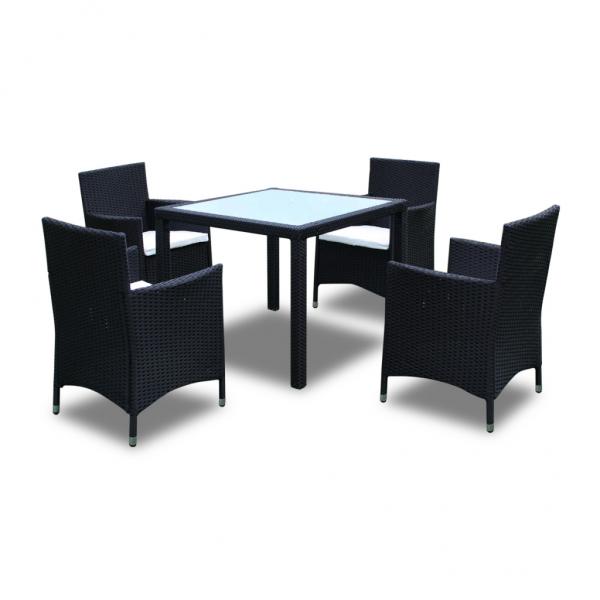 Möbel aus Rattan 9-teilig Gartenmöbel Set schwarz