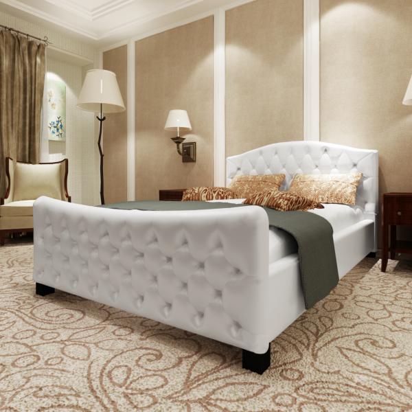Luxus Kunstlederbett Bett 180 cm weiß + Matratze + Lattenrost