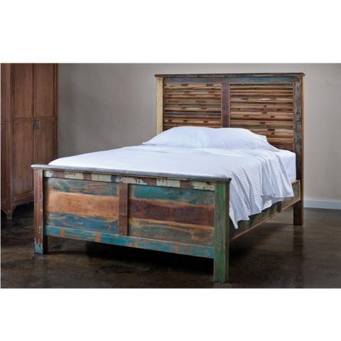 Shabby Chic Bett aus Massivholz