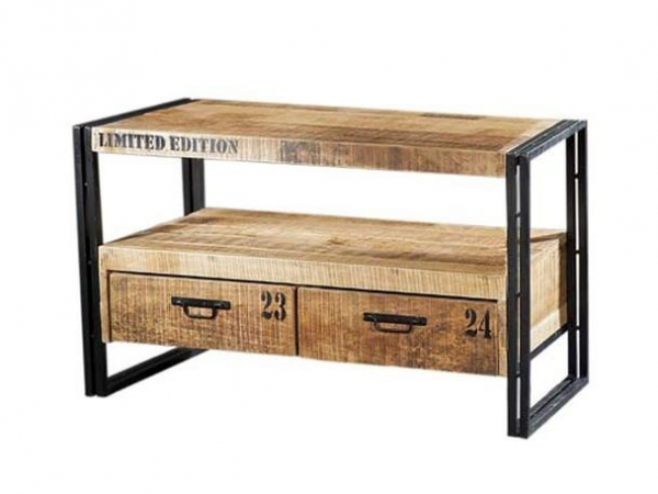 Industrial Chic Design TV-Kommode Sideboard aus Mangoholz / Massivholz