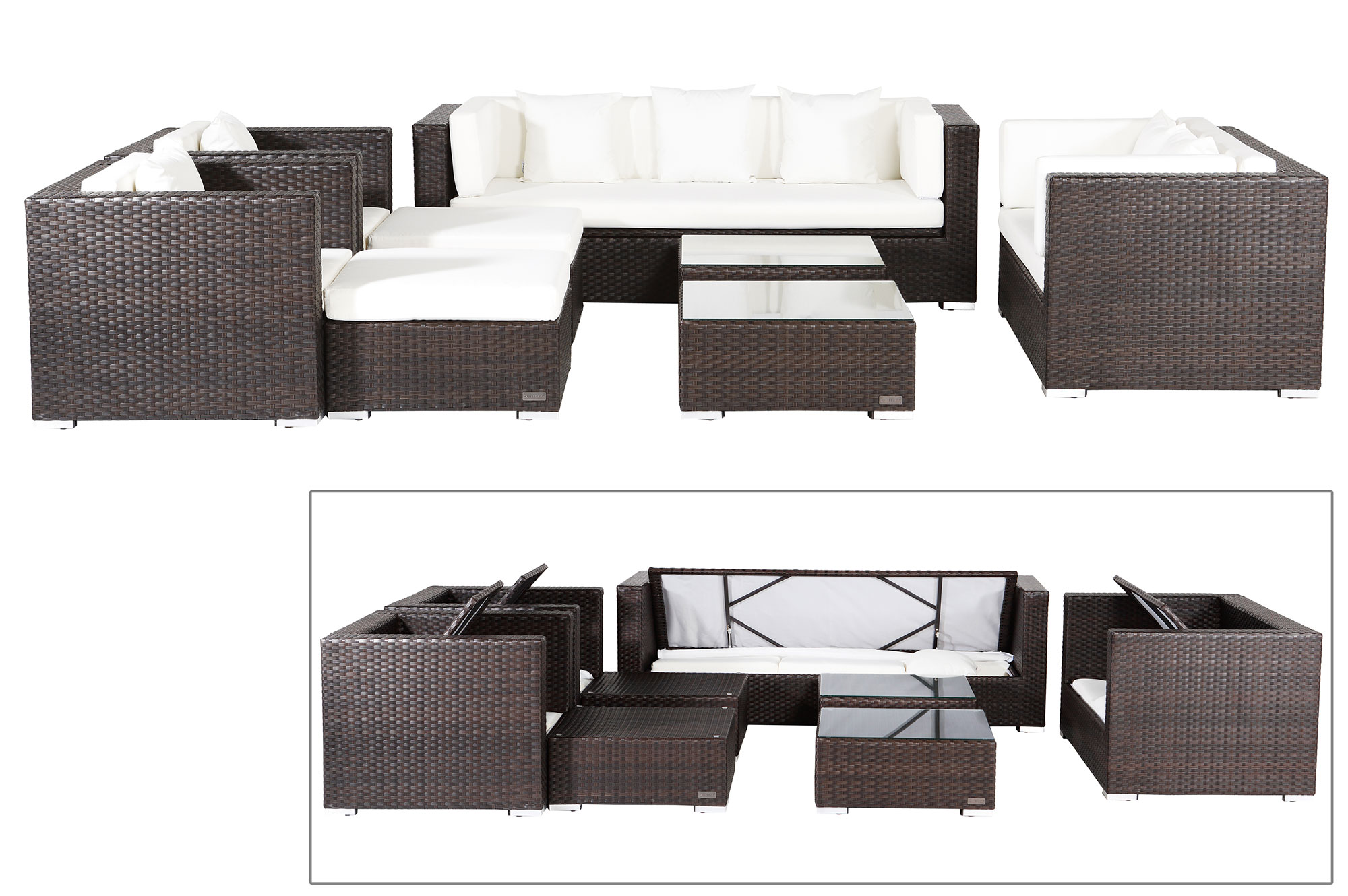 outflexx sitzgruppe aus polyrattan mit kissenboxfunktion inkl polster f r 9 pers braun. Black Bedroom Furniture Sets. Home Design Ideas