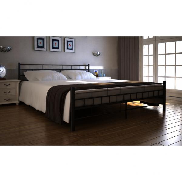 Bett Doppelbett mit Lattenrost 140x200 cm schwarz