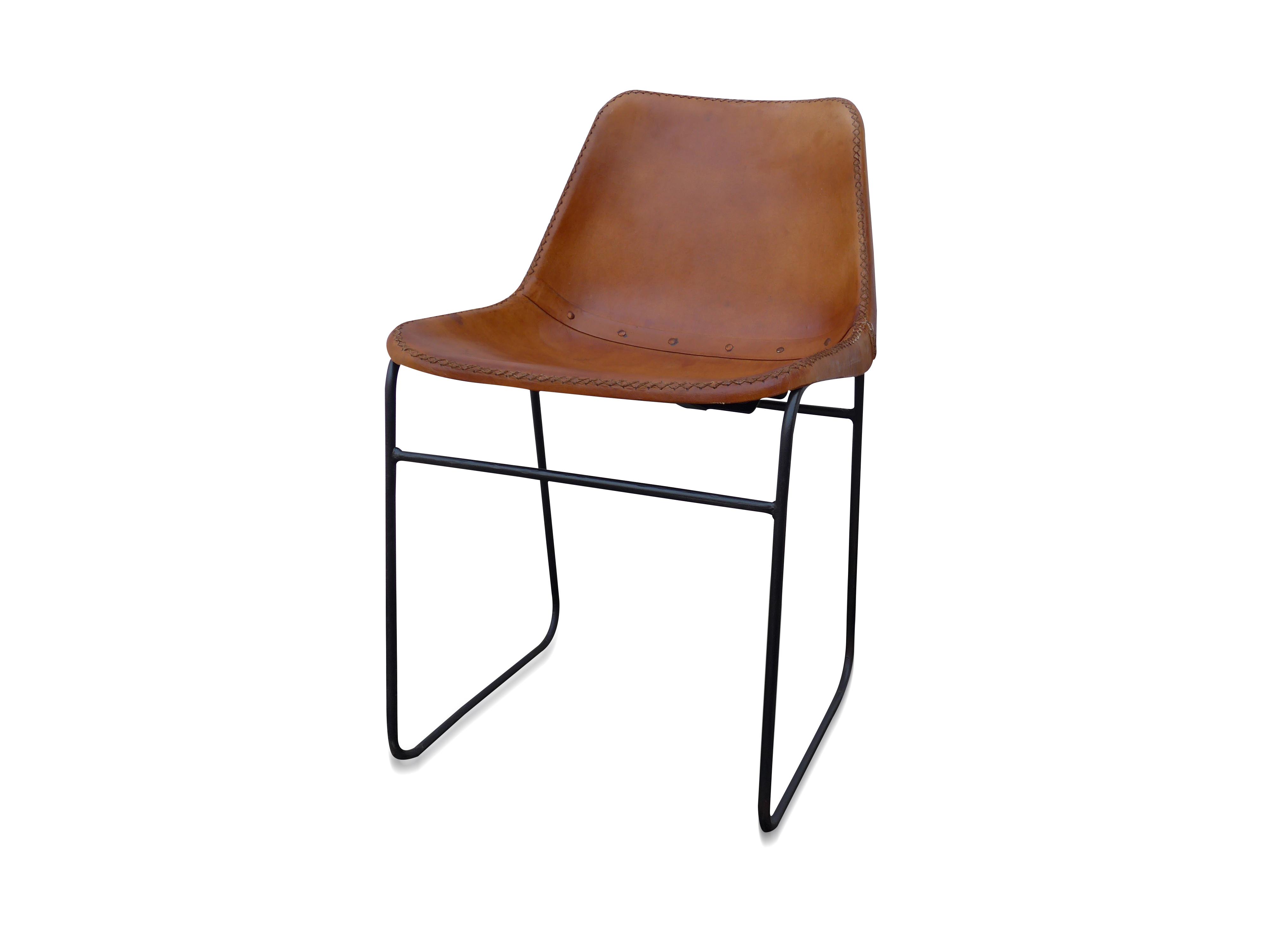 Stuhl industrial chair mit eisen und leder for Stuhl industrial