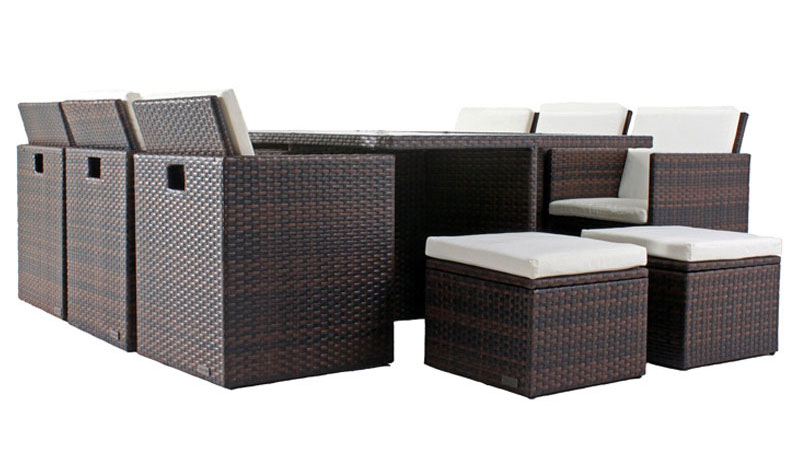 outflexx esstischgruppe aus polyrattan st hle kompl unterstellbar mit hockerboxen 130x190cm. Black Bedroom Furniture Sets. Home Design Ideas