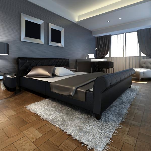 Kunstleder Bett schwarz 140cm mit Matratze