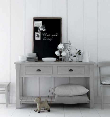 Wandtisch Esszimmer weiß im Landhausstil Massivholz